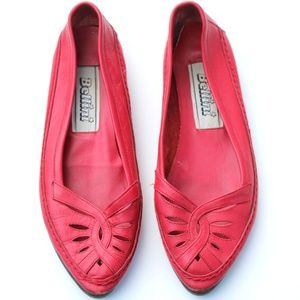 BELLINI RED/BLACK LEATHER CASUAL FLATS SHOES